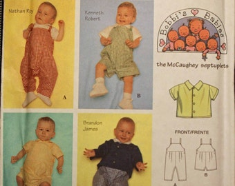 Baby Size New Born, 3 6, 12, 18 Months Boys Simplicity 8594 Bobbi's Babies Bib Overalls Shirt and Jacket  Infant Sewing Pattern Sew Uncut