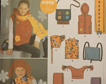 Girls Boys Toddler Kids Size X-Small Small Medium Large SImplicity 5285 Vest Hat Scarf Purse Backpack Novelty Child Sewing Pattern Sew Uncut