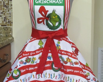 The Grinch Inspired Apron - Wreath Edition- Ready to ship