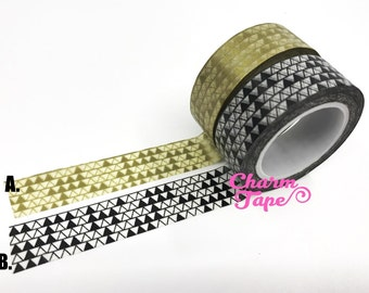 Triangles Washi Tape 15mm x 10m gold or black WT276