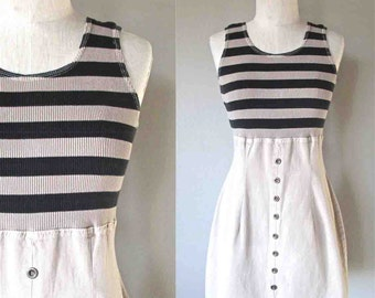 Vintage 90's high waisted dress KHAKI STRIPED tank style button front - S/M