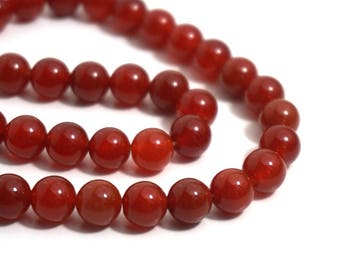 Carnelian 8mm round gemstone beads, red orange, full & half strands available  (1263s)