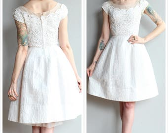 1950s Dress // Purest Heart Lace Carlye Dress // vintage 50s party dress