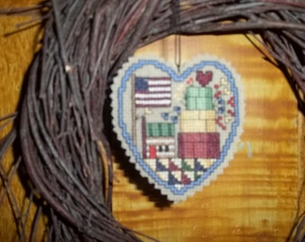 Hand Made Primitive Heart Hanger Flag Shaker Boxes