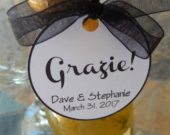 "Wedding Grazie Italian Thank You Custom 2"" Favor Tags - For Mini Wine or Champagne Bottles - Engagement or Anniversary Favors - (50) Tags"