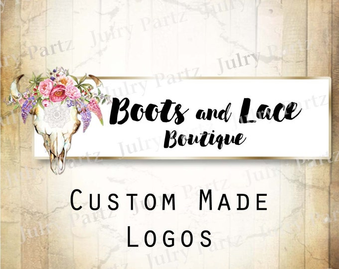 LOGO in LILAC Bull Skull•Premade Logo•Jewelry Card Logo•Flower Logo•Custom Logo•Shop Logo