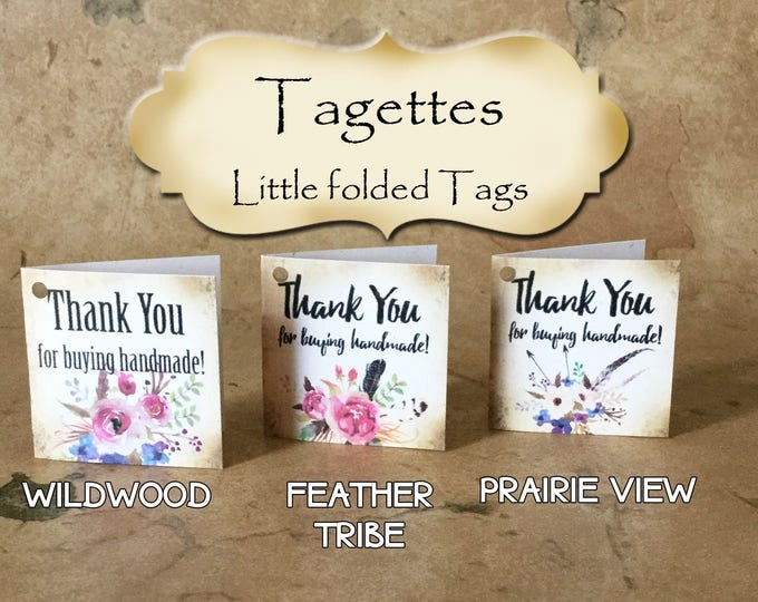 45-TAGETTES•Floral Mix•Mini Tags•Hang tags•Gift Tags•Favor Tags•Paper Tags•Price Tags•Clothing Tags