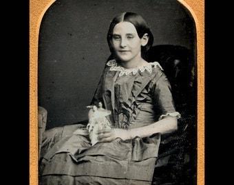 Antique 1850s Daguerreotype Photo - Smiling Girl Holding Two Tiny Dolls!