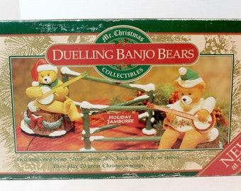 Duelling Banjo  Bears musical Chirstmas decor collectible animated musical