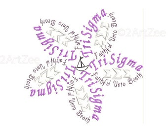 Tri Sigma Flower Machine Embroidery In 4 Sizes Greek life