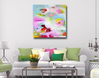 Large Abstract Art, Canvas Print, Giclee Wall Art, Canvas Print from Painting, Expressive Art, White Blue Pink Green Yellow Abstract Print