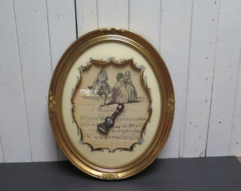 Hollywood Regency Framed Music Print Large Oval Gold Gilt  Frame with Reverse painted Glass