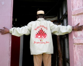 Vintage 90s African American Fraternity Jacket. KAPPA ALPHA PSI. Windbreaker Hoodie Jacket. Hooded Wind Breaker. Unisex. Size Mens xl