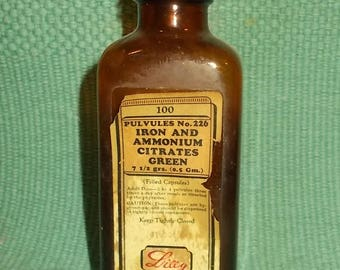 Vintage EMPTY Brown Apothecary/Medicine Bottle-Iron & Amonium Citrates-Eli Lily Co.