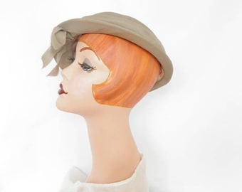 1950s Vintage hat, taupe Saks Fifth Ave. cap