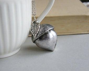 SALE, Acorn Necklace, Big Acorn Pendant, Acorn Jewelry, Woodland Necklace, Rustic Silver Acorn necklace, Acorn Jewelry, Woodland Jewelry