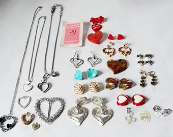 Valentine jewelry, Heart necklace, lot 37 jewelry pieces, heart charms, vintage rhinestone hearts,   mixed media supply
