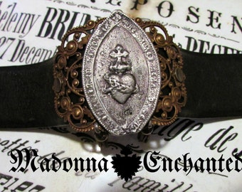 Madonna Enchanted sacred heart tassel cuff wide bracelet one of a kind leather jewelry assemblage unique statement