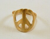 RESERVED listing for MARILYN, Red Brass Peace Sign RIng - Size 8