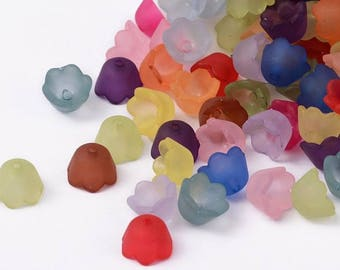 NEW Acrylic Frosted Flowers in Beautiful a Rainbow of Colors  10 MM x 6 MM (100) - (RFAB339)
