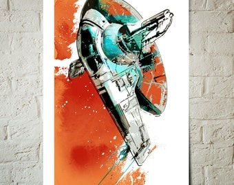 Star Wars Art - Boba Fett Slave1 - Star Wars Poster, Art Print, Star Wars Print, Boba Fett print, fan art Illustration, Star Wars gift
