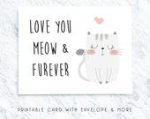 printable cat card, digital cat card, love you cat card, funny printable card, valentines card, anniversary card, card for wife