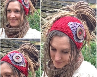 Crochet Dreadband, Massive Button, Headband, Dread Wrap, Hair band
