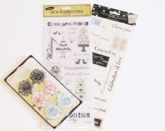 Wedding Scrapbook Supplies, Embellishments, Scrapbooking Paper Roses, Card Making Supplies