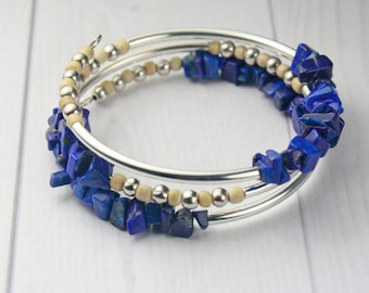 BRACELET DARK BLUE Lapis Chip, Sterling Silver