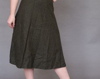50s wool highwasited forest green skirt A-line S 26""
