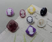 8 Diminutive Antique Glass Cameo Silhouette Lady Face Buttons
