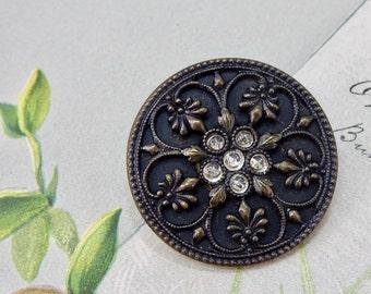 Ornate Filigree & Rhinestone Embellished Antique Metal Button #1   OS9