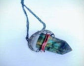 Light of the Moon Large Healing Labradorite Crystal Wand Point Necklace
