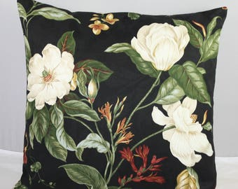 "Pillow Cover  Waverly Floral Black Williamsburg Garden Images  20""x20""    Zipper"