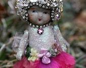 On SALE Vintage Jeweled Rhinestones Crystals Vintage Bisque Doll - Petite Petal Ballerina Doll - Original Art Decor - Prudence
