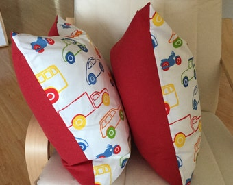"2 Throw Pillow Covers, Decorative, Cushion,  Modern, 20""x20"" cars"