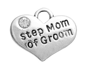 """1 or 2 or 4 pcs. Antique Silver """"Step Mom of Groom"""" charm with rhinestone- 17mm X 13mm"""