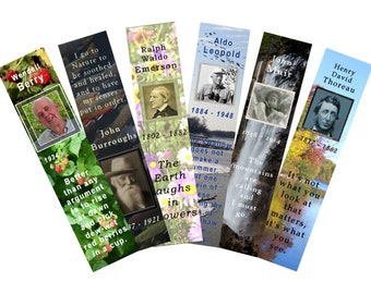 """Bookmarks, """"Authors of Nature"""", 6 printable digital designs"""
