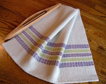 Tea Towel Hand Woven, Handwoven Kitchen Towel, Guest Towel, Periwinkle and Green, Gourmet Towel, Hostess Gift, Gourmet Kitchen, Chef Towel