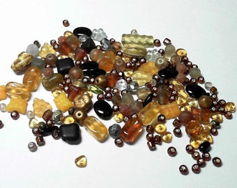 Bead Mix Larger Amber Chocolate Colored Various Shapes and Sized - 45 grams