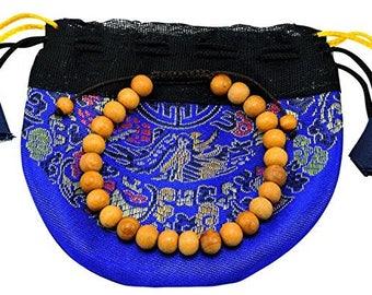 Handmade Tibetan Sandalwood Wrist mala yoga bracelet for meditation brown string