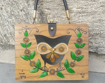 1960s Enid Collins Owl Purse box bag Wise Guy purse Enid Collins box bag Enid Collins of Texas handbag vintage owl purse