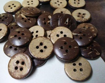 SUPPLY, Shell Buttons, Coconut Buttons - Natural Buttons - 15 mm, 45 Pieces