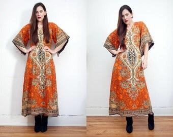 Vintage Floral Cotton Hippie Batik Ethnic Kaftan Caftan Boho Maxi Dress Rare.