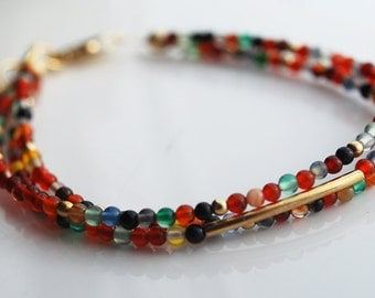 Three-Stand Tiny Smooth Multi Color Agate beads, 14kt Gold Filled Bracelet