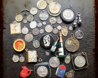 Instant collection 44 vintage French Religious or assemblage Medals charms - Supplies Antique set for jewelry making projects / detash