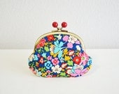 Frame purse [310] Liberty Retro Blue Floral Candy coin purse