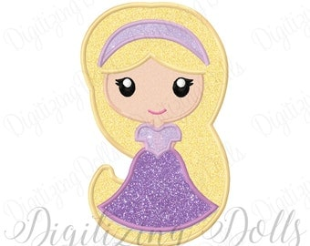 Princess Rapunzel Applique Machine Embroidery Design 4x4 5x7 6x10 INSTANT DOWNLOAD