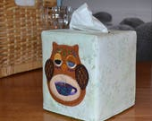 Olive Owl Tissue Box Cover