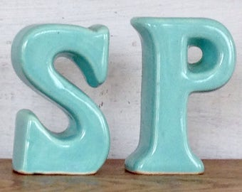 Vintage Turquoise Blue Pottery Salt and Pepper Shakers Letter S and Letter P